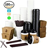 reusable hot beverage cups - 12 oz. Disposable White Paper Coffee Cups with Lids, Sleeves, Stirrers For Hot Beverages [100 Pack]