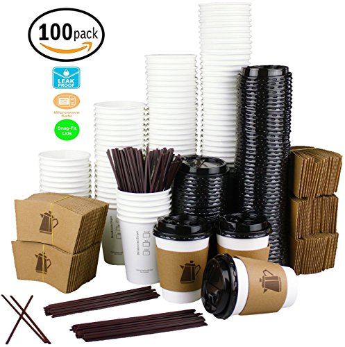 12 oz. Leak-Free Disposable White Paper Coffee Cups with Lids, Sleeves, Stirrers For Hot Beverages [100 Pack]