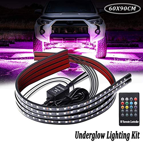 Car Underglow Lights,Led Strip Lights for Cars 12V RGB Neon Strip Lights 5050 SMD Multi Color Atmosphere Decorative Lights Strip Underbody Lighting Kit Sound Active Wireless Remote Control(60-90cm)