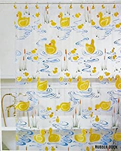 Allure Rubber Duck Vinyl Shower Curtain Home Kitchen