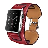 ABCsell Cuff Band Genuine Leather Bracelet Watchband For 38MM iWatch
