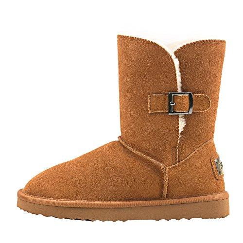 Castaña2 de Botas DA5803 Invierno Nieve Zapatos Shenduo Mujer Forradas con Planas para botón clásicas q6OxSS