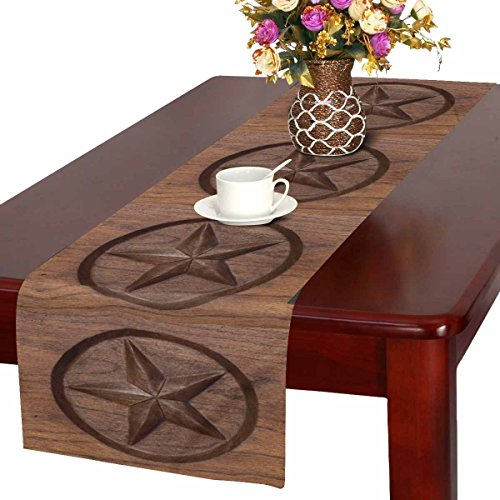 InterestPrint Western Texas Star in Wood Table Runner Cotton Linen Home Decor for Wedding Party Banquet Decoration 16 x 72 -