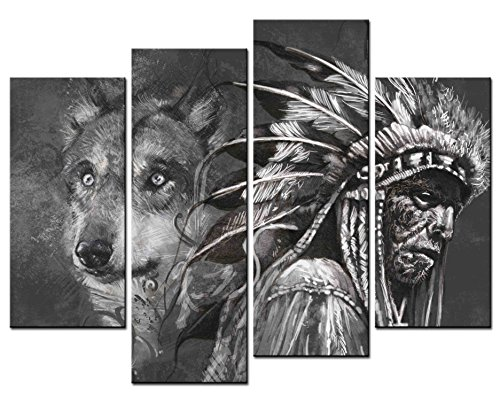 SmartWallArt - Figure Paintings Wall Art Wolf and Indian Male Black & White Illustration 4 Panel Picture Print on Canvas for Modern Home Decoration