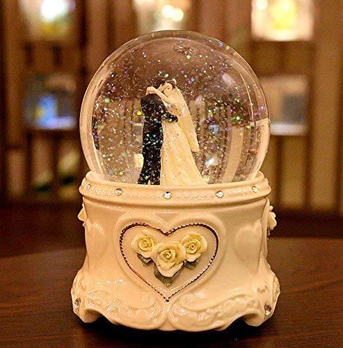 Fytoo Ceramic Wedding Crystal Ball Music Box for Wedding Anniversary/Anniversary/Wedding Gift (Pearl White)