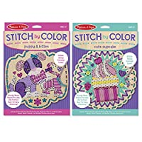 Melissa & Doug Stitch by Color - Wooden Cupcake and Puppy With Kitten, With Yarn, Needle