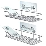 Bathroom Shelf, F-color Strong Adhesive Stainless Steel Shower Caddy Renter Friendly No Drilling Wall Mounted Rack Kitchen Bathroom Organizer, 2 Pack with 2 Extra Adhesive Patches