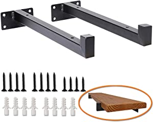 """Ihomepark Heavy Duty Industrial Shelf Brackets - 10"""" Floating Metal Shelving Supports with Lip, Wall Mounted Retro Shelves Hardware Brace for DIYDecor or Custom Wall Shelving (2 Pack - Black)"""