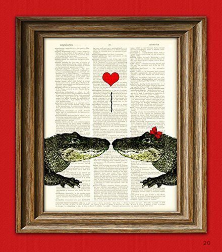 Alligator Art Print Romantic Alligator COUPLE in love with heart altered art dictionary page illustration book print Love Alligators