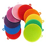 CUGBO 10Pcs Silicone Dish Washing Scrubber, Kitchen Silicone Sponges, Food-Grade Antibacterial Dish Scrub, Multipurpose Household Cleansing Tools for Dish Pan Pot Vegetable Fruits Heat Resistant Pads