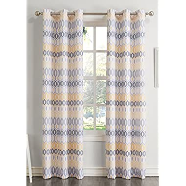 No. 918 Rex Textured Grommet Curtain Panel, Yellow, 48x63