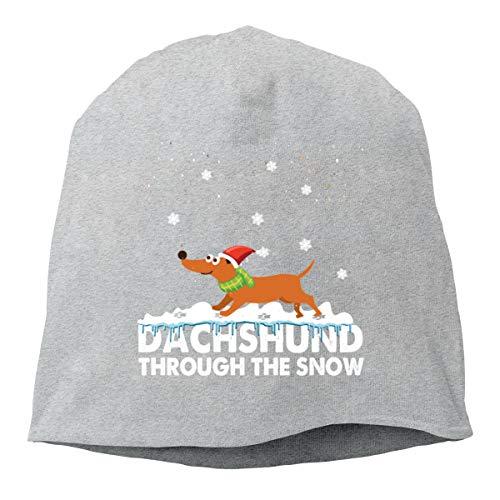 Cqelng Oii Dachshund Through The Snow Beanies Cap Skull Hat Winter Soft Unisex