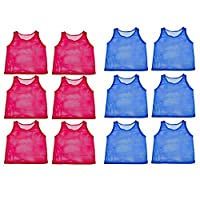 Adorox 24 Pack Youth Scrimmage Practice Jerseys Team Pinnies Sports Vest for Soccer, Football, Basketball, Volleyball (12 Blue and 12 Red)