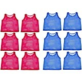 Adorox 24 Pack Youth Scrimmage Practice Jerseys Team Pinnies Sports Vest for Children Soccer, Football, Basketball, Volleyball (12 Blue and 12 Red)