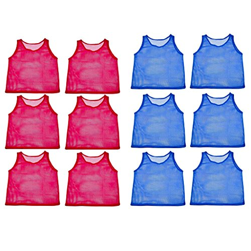 Adorox 24 Pack Youth Scrimmage Practice Jerseys Team Pinnies Sports Vest for Soccer, Football, Basketball, Volleyball (12 Blue and 12 Red) ()