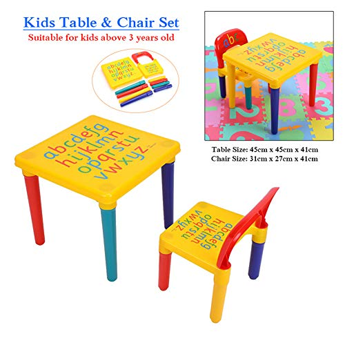 (SOULONG Children Table and Chair Set, 2 Piece Table & Chairs Plastic DIY Kids Set Play Toddler Activity Fun Child Toy, Kids Art Table &)