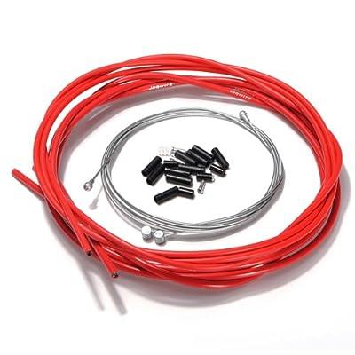 Sonline de velo complet avant et arriere interieure fil externe engrenage cable de frein Set - Rouge