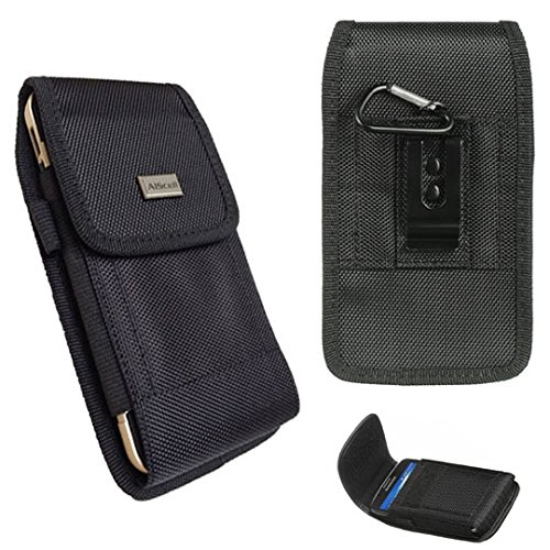 Huawei Ascend Mate 2 / Ascend XT / Mate 9 ~ Pouch Holster Black Rugged Nylon Canvas Carrying Case With Stainless Belt Clip Belt Loops [Vertical Horizontal] And Carabiner Hook (Black)