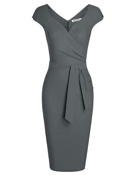 Women's Vintage 1950s Style Wrap V Neck Tie Waist Formal Cocktail Dress