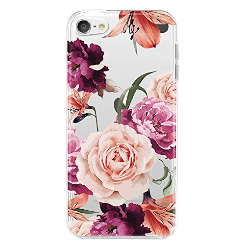 iPod Touch 6 Case,iPod Touch 6 Case for with Flower,LUOLNH Slim Shockproof Clear Floral Pattern Soft Flexible TPU Back Cover for Apple iPod Touch 6th Generation((Purple) (Cute Ipod Touch Cases)