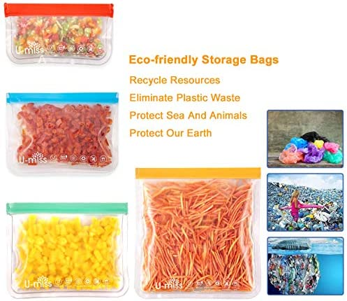 Reusable Storage Bags, BPA -Free & Freezer Bags, Leakproof Storage Bag for Food, Travel, Home Organization (12 Pack - 2 Gallon 4 Sandwich 4 lunch 2 Snack)