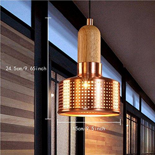 FOSHAN MINGZE Industrial Retro Pendant Light Copper Finished Chandelier Ceiling Light Fixture for Dining Room/Kitchen/Cafe/Restaurant/Bar/Loft (Copper Light Fixture)