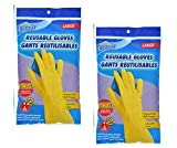 Long Rubber Gloves Reusable Multipurpose Hurricane Cleanup Latex 4 Pair Large