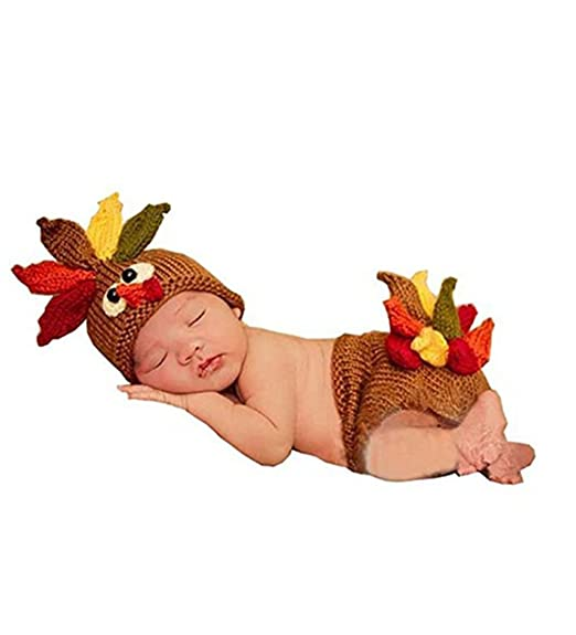 Amazon.com  Lanue Newborn Baby Crochet Turkey Hat Diaper Photo Props  Costume Outfits  Clothing a09f9cb4271
