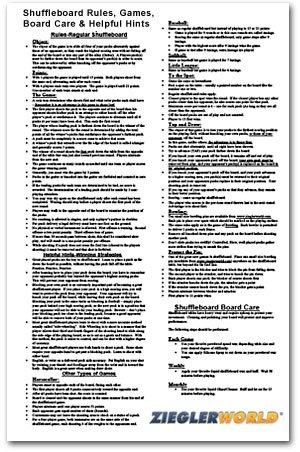 Zieglerworld Table Shuffleboard Rules & Regulation Poster - 11 x 17 Laminated