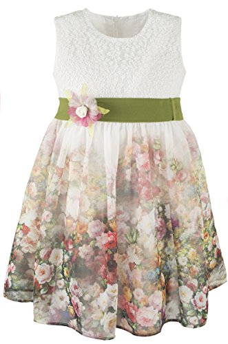 Lilax Little Girls' Colorful Flower Print Dress 4T