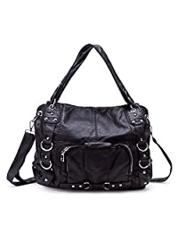 BAIGIO Women's Handbags Tote Washed Leather Bag with Zipper Top-Handle Satchel Shoulder Bag Messenger Roomy Pocket for Women