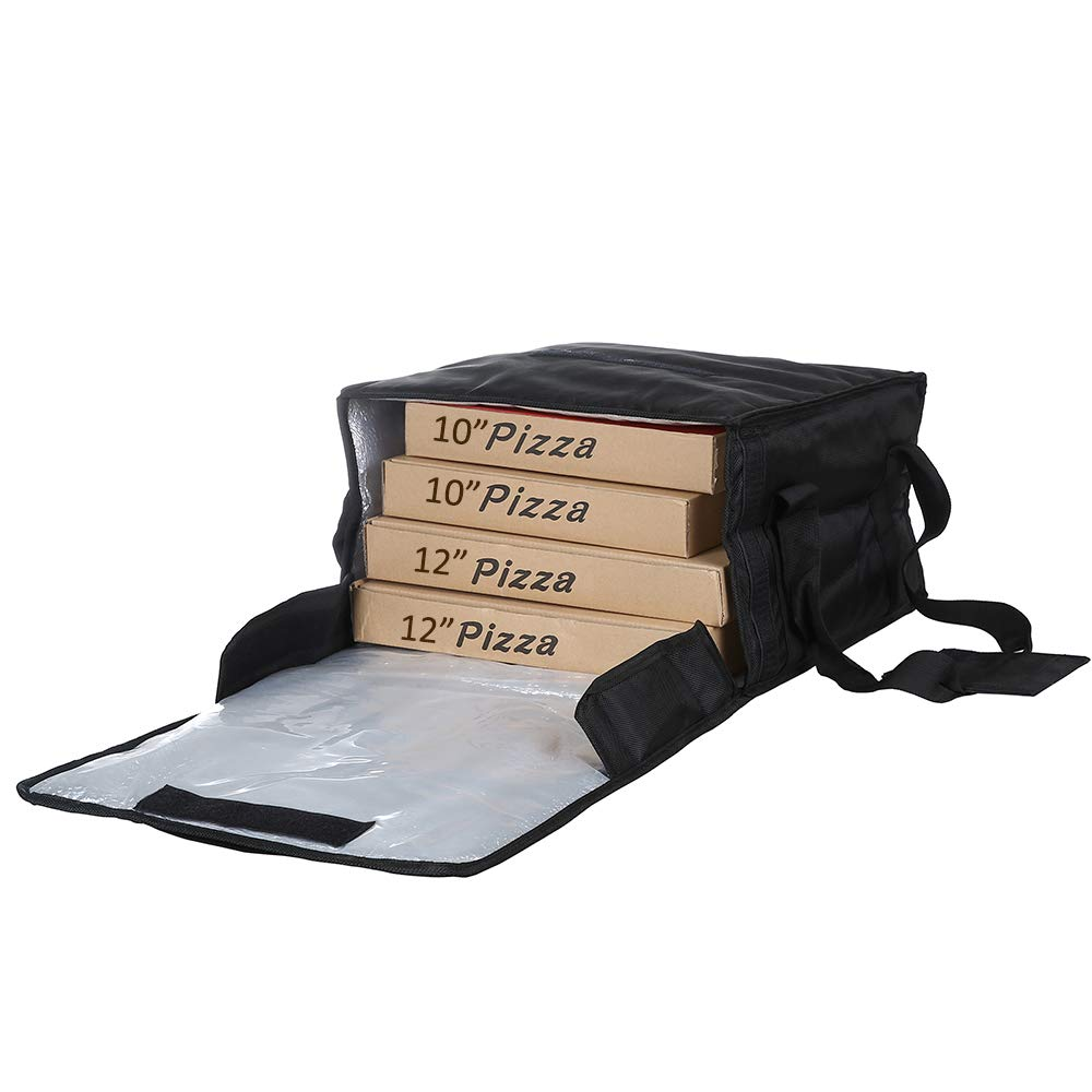 Polyester Insulated Pizza/Food Delivery Bag Professional Pizza Delivery Bag 14''×14''×8'' for Four 12'' Pizza Boxes (Black)