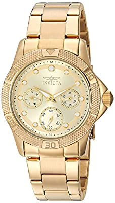 Invicta Women's 'Angel' Quartz Stainless Steel Casual Watch, Color:Gold-Toned (Model: 21766)