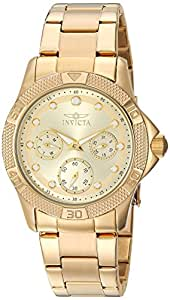 Invicta Women's Angel Quartz Watch with Stainless-Steel Strap, Gold, 20 (Model: 21766)