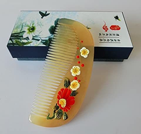Wide Tooth Hair Comb - No Static Natural Hair Detangler Comb - Handmade Massage Sheep Horn Comb with Premium Giftbox - Rake Detangler Comb