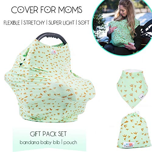 Baby Carseat Canopy Nursing Cover for Breastfeeding | Ultra Chic Cover Great Baby Shower Gifts for Mommy by Coconbby