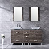 BATHJOY 60' Double PLY Wood Bathroom Vanity Cabinet and Square Ceramic Vessel Sink w/ Mirror Faucet Combo