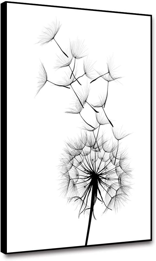 shensu Framed Canvas Wall Art Nordic Plant Black Dandelion Prints White Background Artwork Simple Posters Wall Decor for Modern Living Room Bedroom Bathroom Kitchen Office Home Decoration 12x18inch