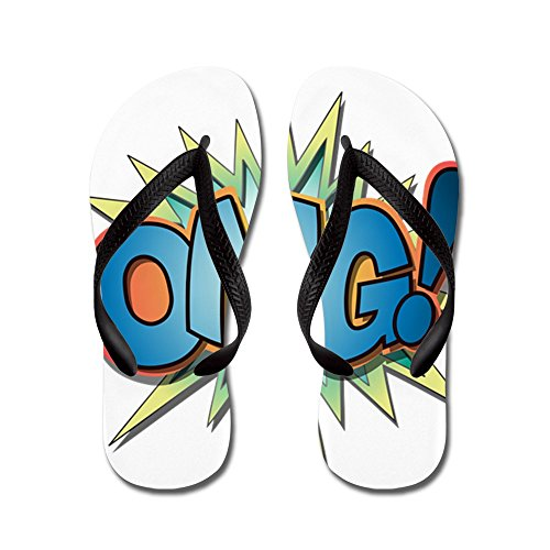 Truly Teague Kid's Text Abbreviation OMG! Black Rubber Flip Flops Sandals -