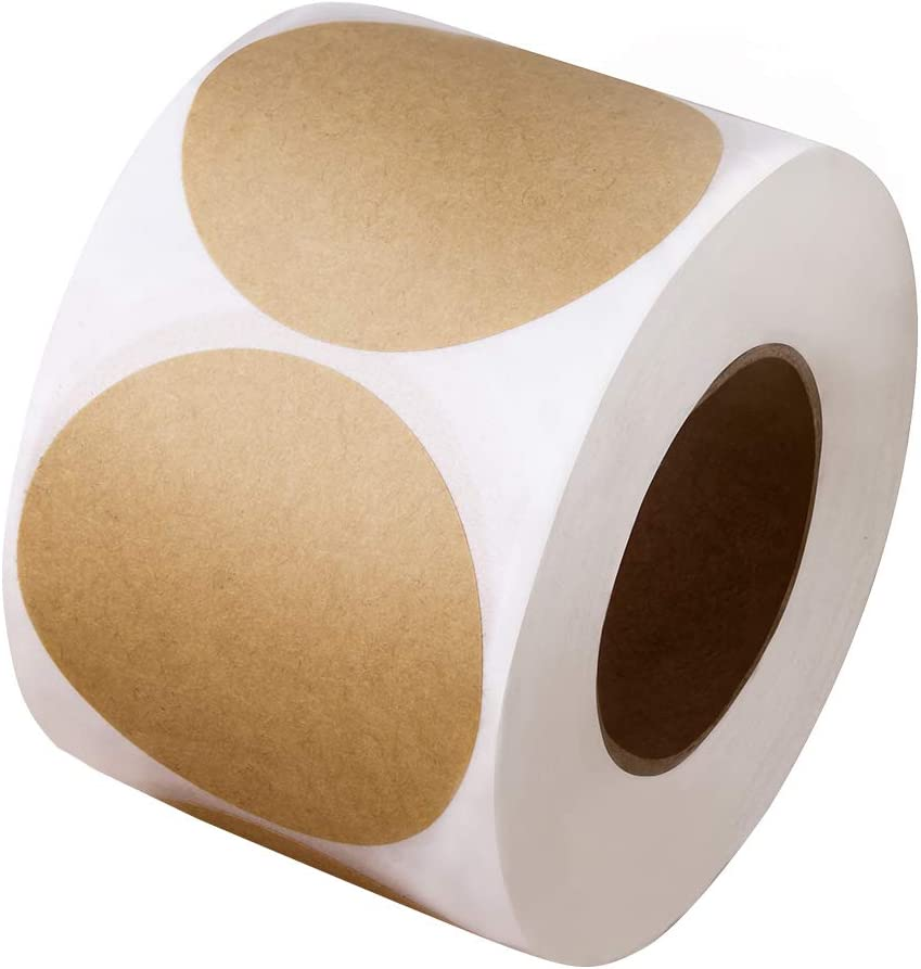 2 Inch Natural Brown Kraft Stickers (500 Per Roll) - Round Blank Stickers (Permanent Adhesive) for Store Owners, Crafts, Organizing, Jar and Canning Labels, Price Tags, Clearance Sales (LABELS-002)