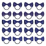 KOONY Baby Girls Bow Hair Tie Elastic Rubber Bands Ponytail Holder Mini Hair Accessories 20pc/set (Navy)