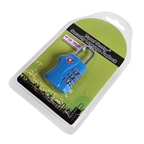TSA Kofferschloss Zahlenschloss Vorhängeschloss Blau 338 6MXjV3b