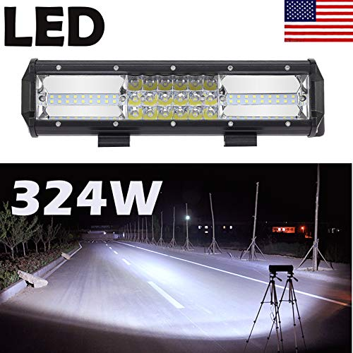 12 Inch 324W LED Light Bar Triple Row Flood Spot Combo Beam Led Driving Lamp Boat Lights Led Off Road Lights for Trucks