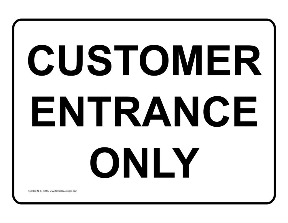 ComplianceSigns Aluminum Enter Sign, 10 x 7 in. with English Text, White