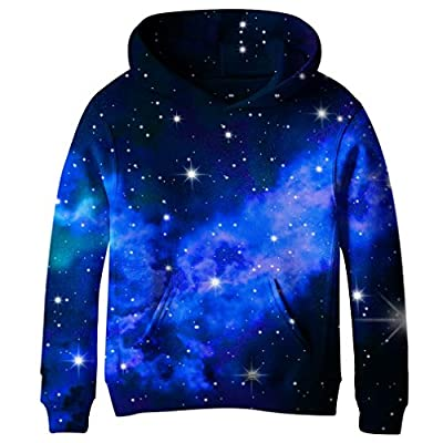 SAYM Teen Boys' Galaxy Fleece Sweatshirts Pocket Pullover Hoodies 7-14Y