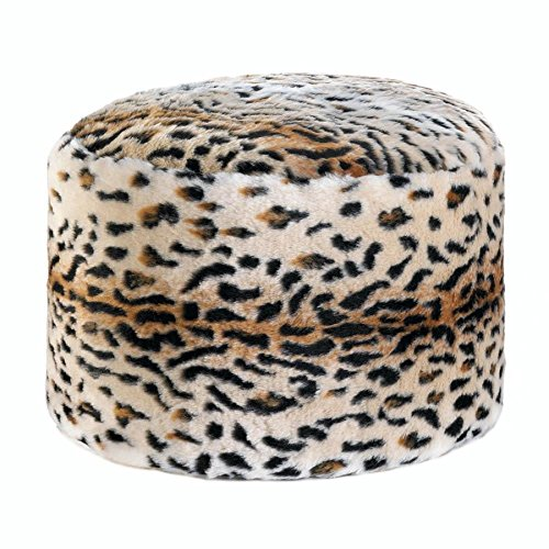 BSD National Supplies Momento Fuzzy Leopard Ottoman Pouf Black by BSD National Supplies