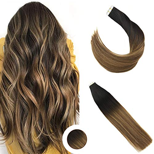 Ugeat Tape in Hair Extensions Human Hair 24 inch 50g 20PCS Seamless Skin Weft Remy Straight Hair (#1B/4/27) Balayage Color