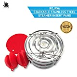 Stackable Pressure Cooker Steamer Pot – 18/8 Grade Stainless Steel Steamer Insert Pans with Lid – Instant Pot in Pot Accessories – Includes Silicone Trivet Mat and 2 Silicone Mitts by ROJAVA