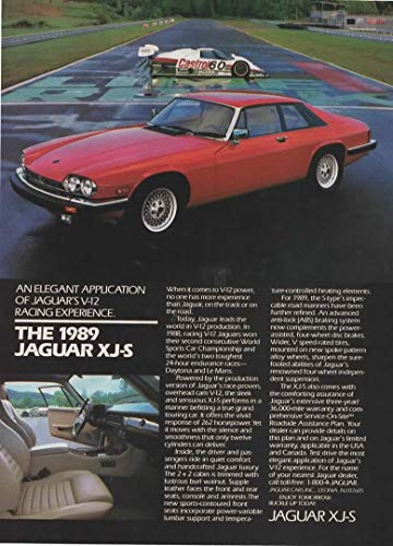 "Magazine Print ad: 1989 Jaguar XJ-S, Race track car scene,""An Elegant Application of Jaguar"