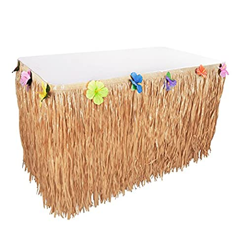 Hawaiian Luau Hibiscus Natural Color String & Colorful Sproilk Faux Flowers Table Hula Grass Skirt for Party Decoration, Events, Birthdays, Celebration (1 (Prom Themes)